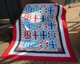 One Week Sale - Homemade - Union Jack Quilt - Made With Hard To Find Fabrics!