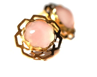 Pink Stud Earrings in geometric setting