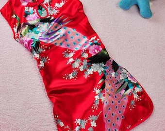 Children's chinese Cheongsam outfit chinese dress Asian Floral Peacock design chirpaur