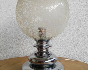 70s vintage age space table lamp, chrome metal and glass globe with embossed texture, decoration, gift, antiques