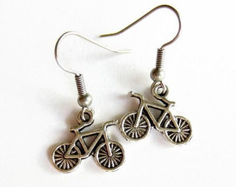 Bicycle Earrings, Small Silver Bike Earrings, Gift for Cyclist, Hypoallergenic, Surgical Stainless Steel Earrings