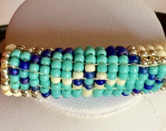 L leather and woven beads