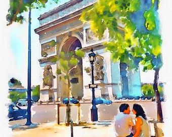 The Arch of Triumph Paris Watercolor painting Paris decor Printable art Aquarelle Wall art Couple Romance Love Arc de Triomphe Paris poster