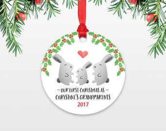 Bunny Rabbit New Grandparents Christmas Ornaments First Christmas as Grandma and Grandpa Personalized Christmas Ornament Christmas Gift