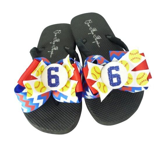 d63200da4f31 ... Ladies for Flops Bows Mom Glitter Girls Softball Children with Player  Number Flip FCHwf ...