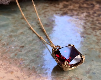 Garnet necklace, cushion cut stone pendant, floral pendant, golden brass pendant, January birthstone, gold necklace - Hello spring NK2039