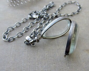 Choker Locket, Silver Glass Locket Necklace, Glass Photo Locket, Oxidize Silver Chain, Push Gift, Modern Locket, Push Present, Gift for Mom