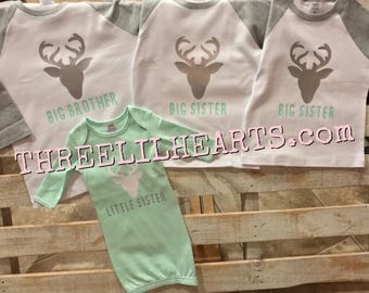 Siblings set big brother little brother big sister little sister gown and shirts deer head