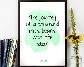 The journey of (...) , Lao Tzu quote, Lao Tzu Watercolor Poster, Motivational quote, Inspirational quote, Lao Tzu Watercolor art.