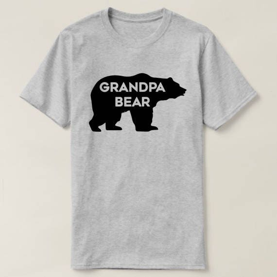 Grandpa Bear T-shirt • Unique Gift for Grandpas •Hand-lettered Typographic Bear Design • Super Soft Gray Grandfather Tee • FREE SHIPPING XTgzfo69Af
