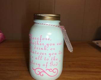 1 Corinthians 10:31 painted quart mason jar