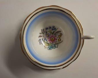 Royal Albert Bouquet Pattern Tea Cup & Saucer Blue