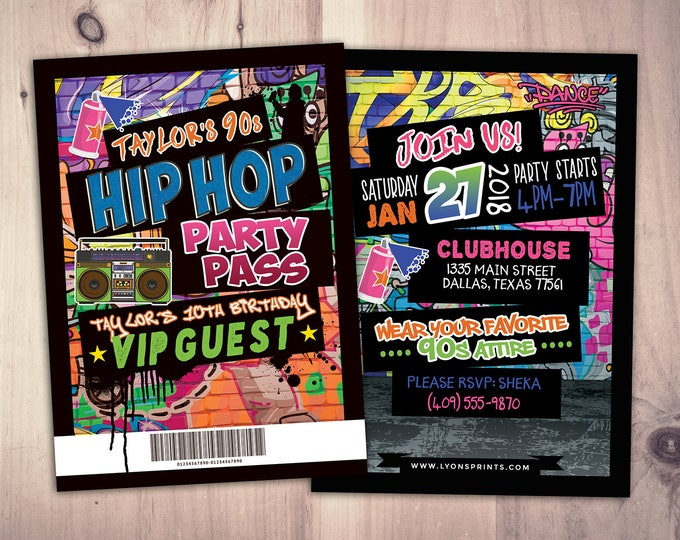 Hip Hop, Swagger, VIP PASS, backstage pass, Vip invitation, birthday invitation, pop star, lanyard, Fresh Prince, birthday,90s party, Neon