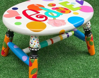 Colorful Personalized Hand Painted Stool Polka Dots and Hearts and Cherries Fun Stool For Children Nursery Decor