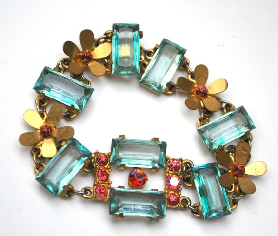 Blue Glass  flower Link Bracelet - gold plated - Pink rhinestone -  1940s floral aqua blue crystal tennis bracelet