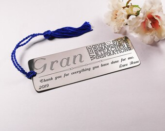 Custom engraved bookmark for grandmother personalised gift customised present gift for her gift for grandmother bookmark birthday present
