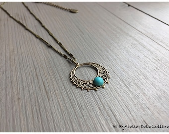 Art deco necklace with turquoise cabochon, Adele collection