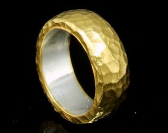 24K gold sheet over silver hammer band ring