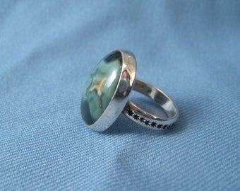 Morris Vein Agate And Silver Ring