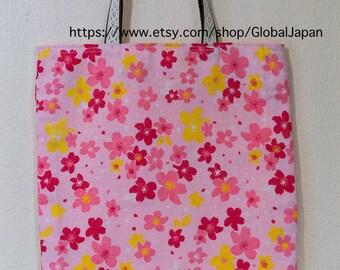 Handmade, tote bag, Sakura(Cherry blossom) design, 11 in x 12.6in (28cm x 32cm) , tenugui, inside pink color, No.1