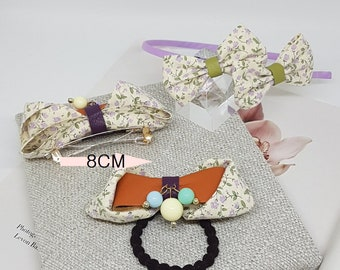 2 colours Flower printed hair bow barrette clip(8cm), Hair band, Elastic
