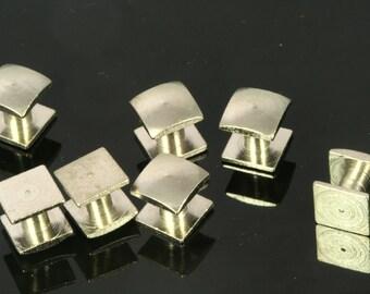 10 pcs  8x8x8.3mm Nickel plated Brass Studs, Shirt Collar Tuxedo Stud 1699