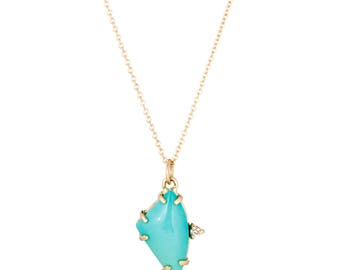 Turquoise Diamond Necklace, 14K Gold Delicate Turquoise Necklace, Gift for Her, Ready to Ship, December Birthstone