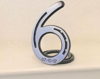 HORSESHOE number 6, 6th anniversary gift, iron 6, engraving available. Country western theme.