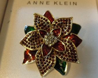 Vintage Anne Klein Poinsettia Brooch, Enamel and Crystal Poinsettia Brooch, Poinsettia Pin, Anne Klein