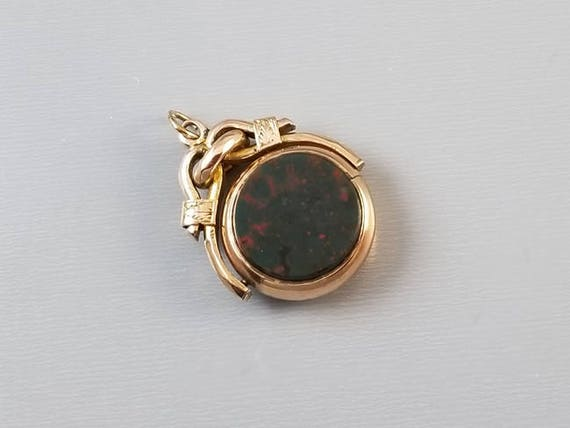Antique Edwardian 10k gold double sided sardonyx and bloodstone spinner fob, pendant, charm, necklace
