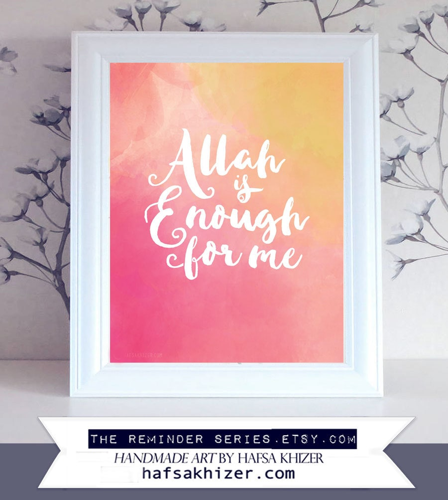 Pink islamic prints allah is enough for me islamic wall art zoom m4hsunfo