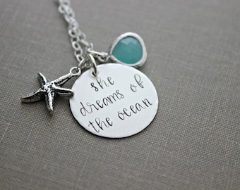 she dreams of the ocean, inspirational quote necklace, hand stamped sterling silver starfish jewelry, aqua blue glass gem - beach jewelry