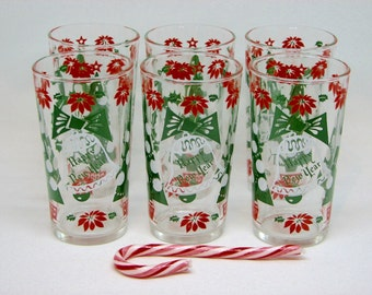 Fabulous Vintage Merry Christmas and Happy New Year Highball Glasses/Tumblers by Con Cora, Set of 6 — 1950s Holiday Style