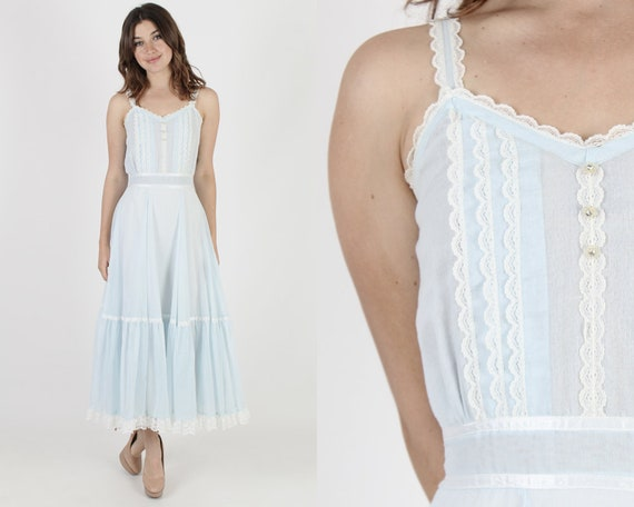 Gunne Sax Dress Prairie Dress Boho Dress Lace Dress Hippie Dress Blue Dress Vintage 70s Pale Tuxedo Wedding Plain Renaissance Maxi Dress S by Etsy