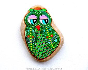 Hand Painted Stone OWL *I Sassi dell'Adriatico (Adriatic Sea Stones)