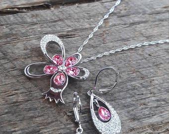 Pomegranate Necklace and Earring Set - Swarovski Fuchsia