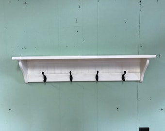 "Wall Coat Rack 36"" Wood Shelf"