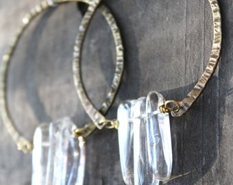 Big Hoop Earrings Raw Crystal Earrings Hammered Brass Hoops