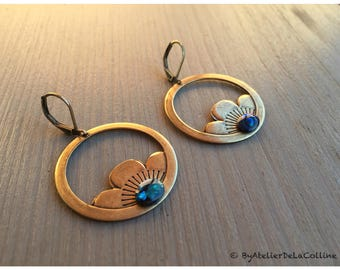 Art deco Dorothea earrings with lotus charm and abalone cabochon