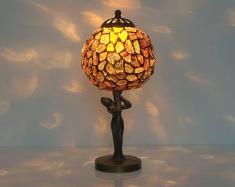 Tiffany Lamp. Baltic Amber Lamp. Small Table Lamp. Stained Glass Lamp.  Bedside