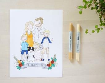 Portrait de famille personnalisé Illustration, Art Original, personnalisé famille Art, cadeau de pendaison de crémaillère