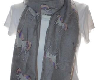 Grey unicorn horse scarf shawl, Beach Wrap, Cowl Scarf, unicorn print scarf, cotton scarf, gifts for her