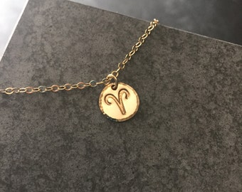 Aries Zodiac Necklace - Gold Filled Zodiac Sign Gift for Him Star Sign Anniversary Gift for Bestfriend April Birthday