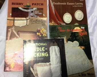 Five Candlewick Pattern Design Booklets  c1982