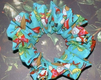 Christmas Hair Scrunchie, Tropical Hair tie, Santa Clause Ponytail Holder, Christmas in Florida