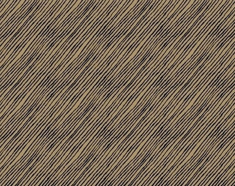 Blend by Fiona Stokes-Gilbert from Windham Fabrics -  Latte Tan, Black Diagonal Stripe Chalkboard Look Fabric