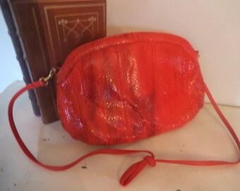 Vintage RED Snakeskin Shoulder bag Clutch ~ Palizzio