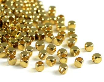 Raw Brass Bead, 3mm, Solid Brass Bead, Rounded Cube, Blunt Cube Spacer, 2.2mm Hole, Lightweight Bead