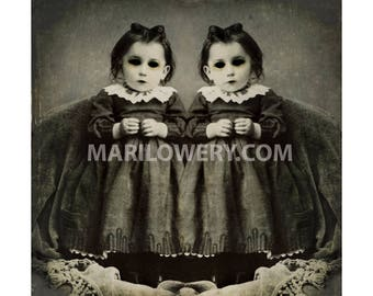 Creepy Twins Halloween Art Print Black and White Gothic Halloween Decor, 7x7 on 8.5 x 11 Inch Paper