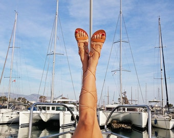 Leather Gladiator Sandals, Laces Sandals, Greek Sandals, Spartan Sandals - 100% Calf Leather! Handmade in Greece.